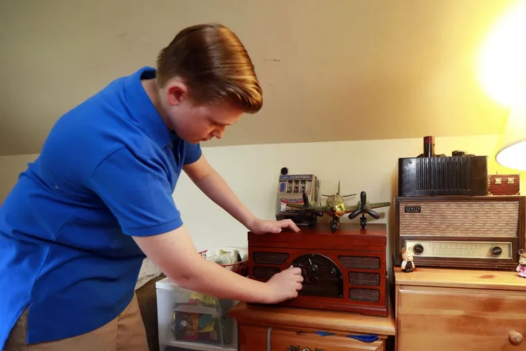 Joey Warchal, 13, is an antique expert from Somerton who has a vintage radio to make Al Capone's prison cell at Eastern State Penitentiary more authentic.