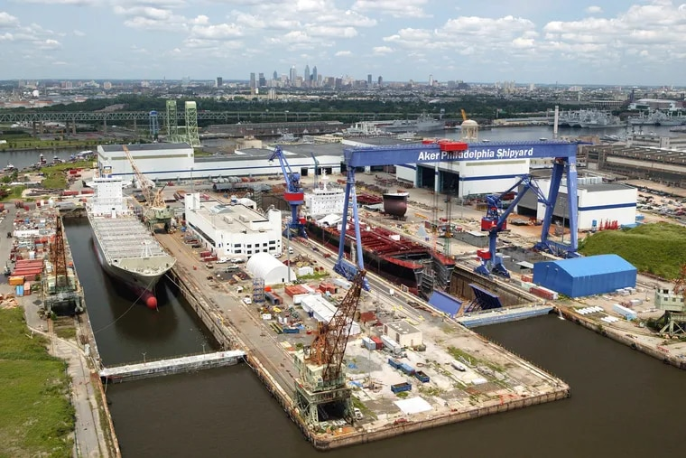 An aerial view of the Philly Shipyard's docks.