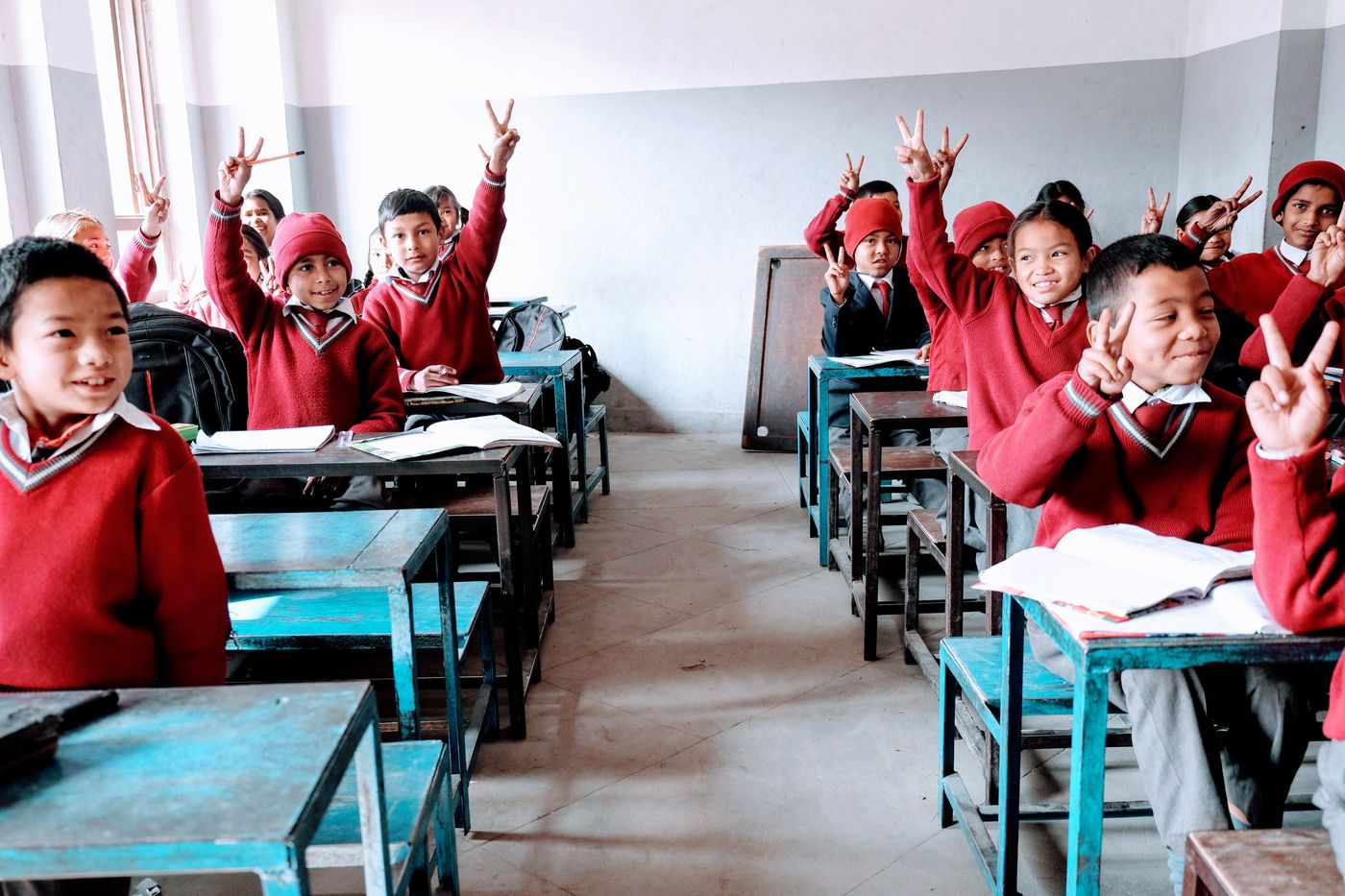 Students at Proxima International School, which partners with the Happy Kids Center's education program, EducateHKC.