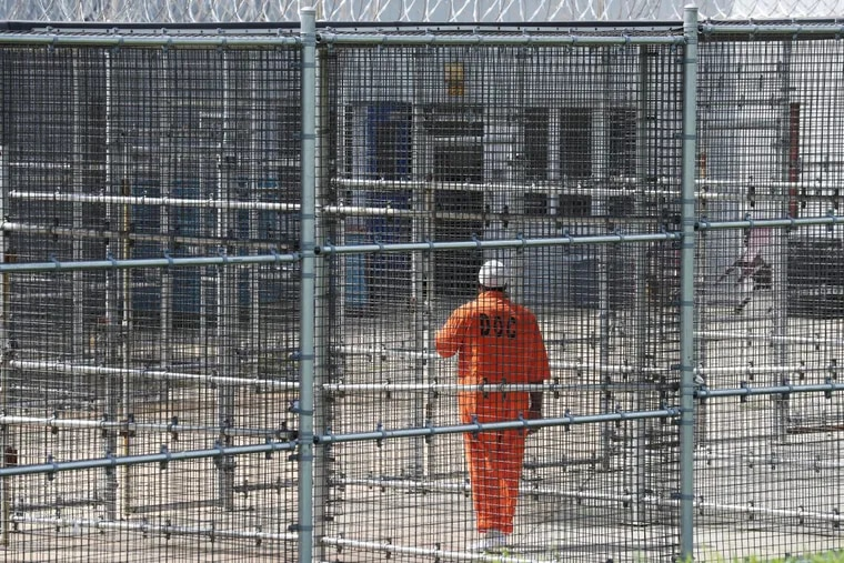 An inmate in a high-security yard at SCI Graterford. Last year, Graterford prisoners were moved to nearby SCI Phoenix.