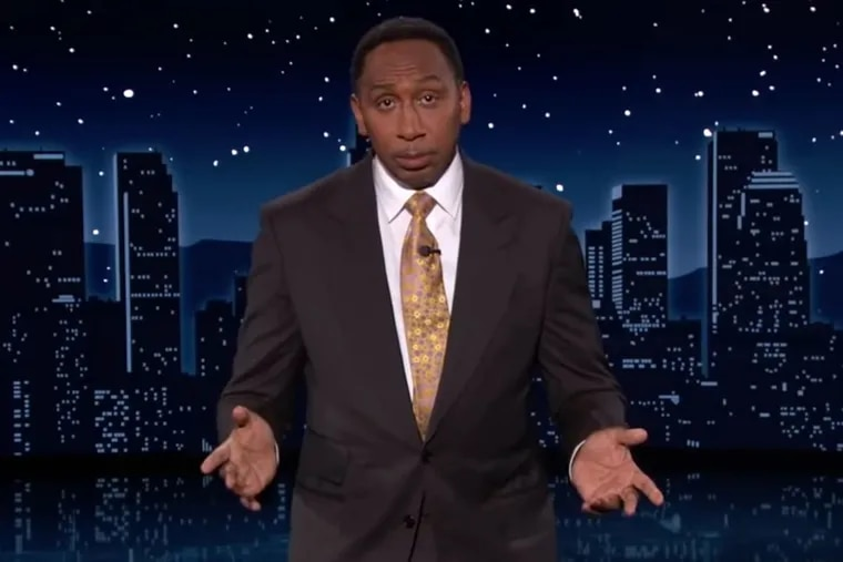 """ESPN host Stephen A. Smith fills in as guest host of ABC's """"Jimmy Kimmel Live!"""" on Monday, Aug. 23, 2021."""