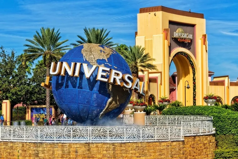The entrance to Universal Studios in Orlando, Florida, in 2019. Comcast's theme parks were profitable for the first time since the pandemic began.