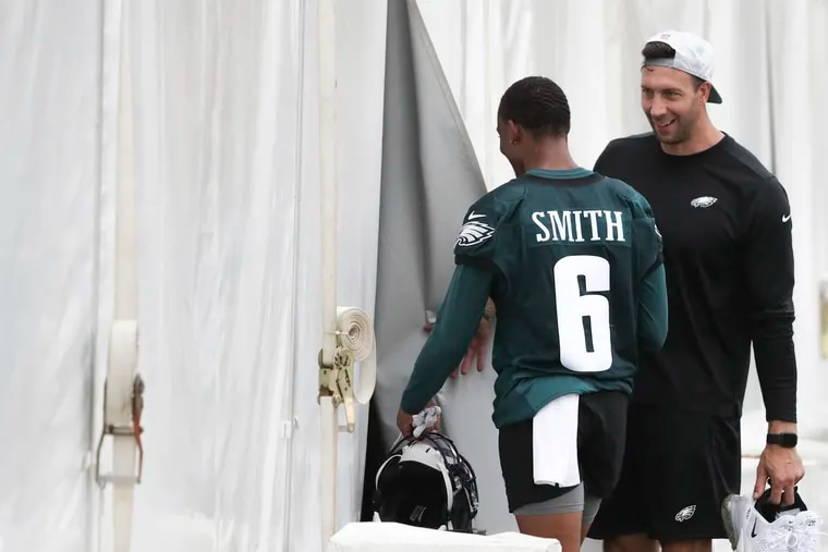 Eagles wide receiver DeVonta Smith walking off the field after the second day of training camp.