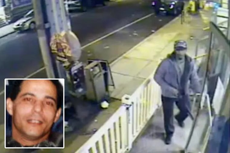 """Surveillance video shows one of the two men - the alleged shooter - wanted in connection with the killing of store clerk Mustafa Shaker, 50, left. Police say the suspect was black, in his 20s and wore a black baseball cap with Armani printed in white. Watch the surveillance video <a href=""""http://www.philly.com/philly/video/122714179.html""""><b>here</b>.</a> (www.phillypolice.com)"""