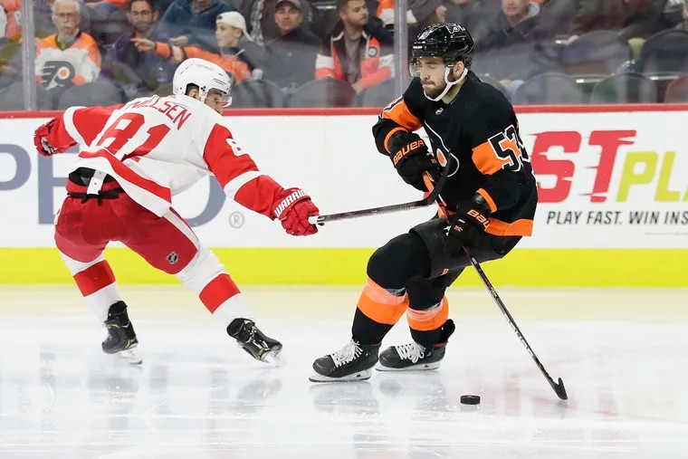 Flyers defenseman Shayne Gostisbehere skating with the puck against Detroit earlier this season. Gostisbehere's name has been bandied about in several trade rumors.