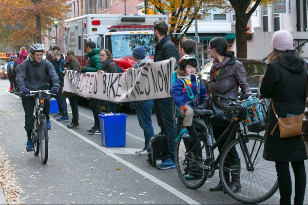 Protesters create human bike lane where bicyclist was killed in Center City