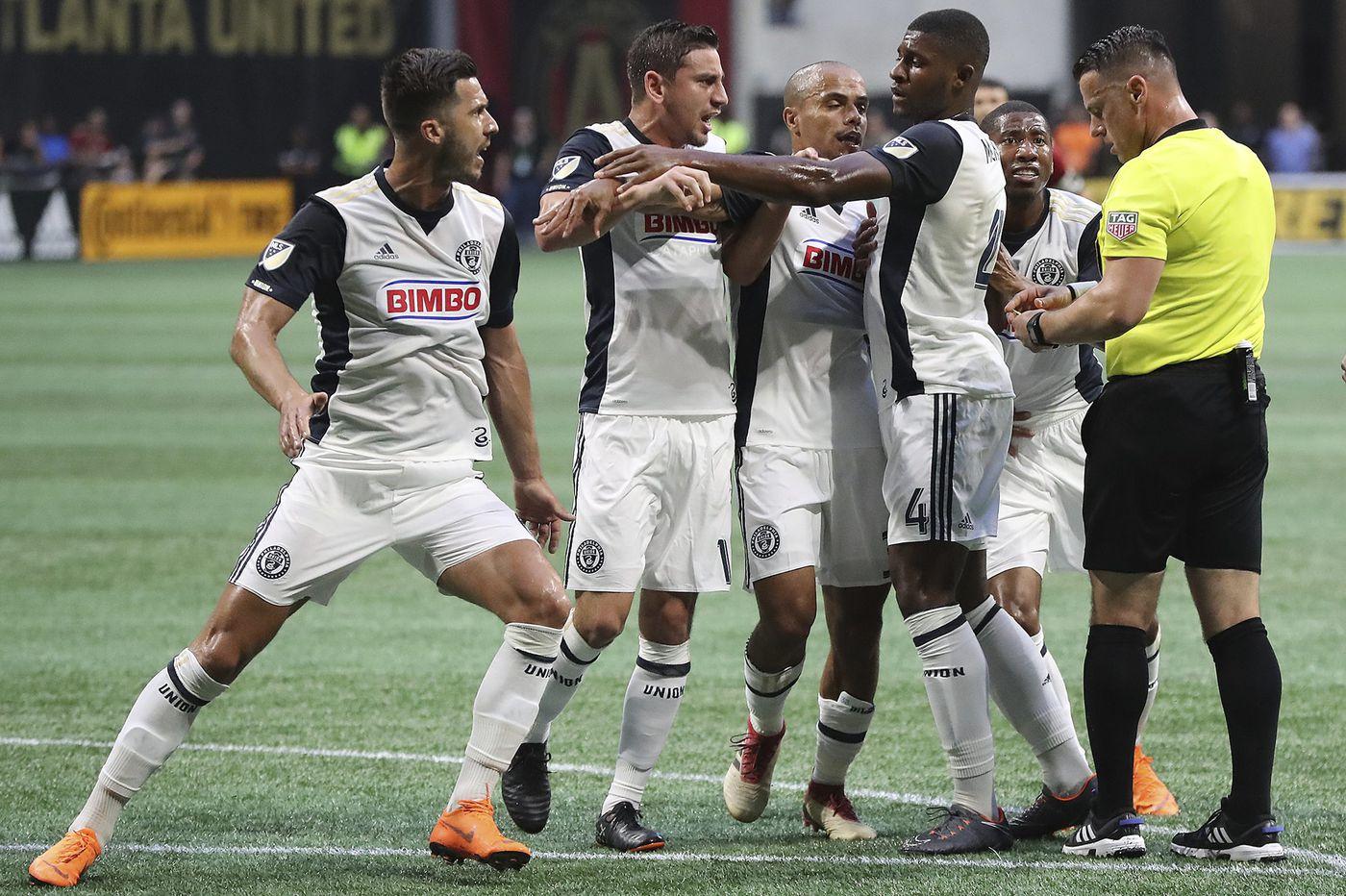Union's 3-1 loss at Atlanta United marred by red cards to Alejandro Bedoya, Haris Medunjanin