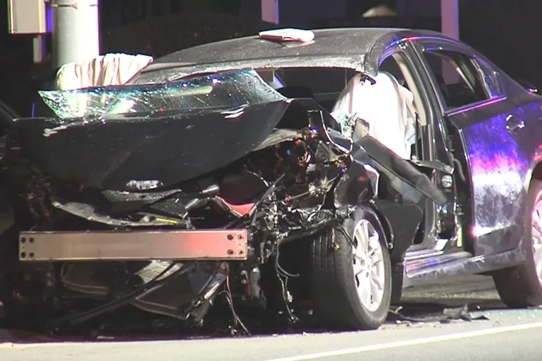 The driver of this car was killed when he slammed into the rear of a SEPTA bus in Newtown Square early Thursday. No one on the bus was seriously injured.