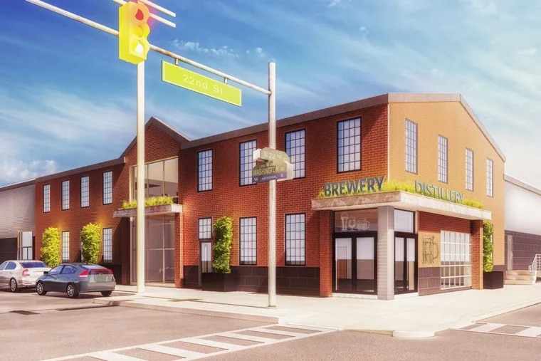 Artist's rendering of former tile warehouse at 2118 Washington Ave. after conversion to Dock Street Brewing Co. production facility and taproom.