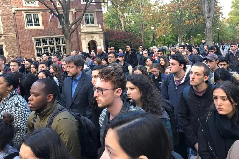 Mourners gather at a vigil hosted by Penn Hillel for victims of the Pittsburgh shooting.