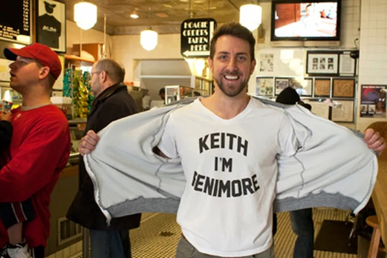 Bucks native Keith Fenimore, a Howard Stern producer, launches his self-promotion experiment at Jim's Steaks on South Street. (Ed Hille / Staff Photographer)
