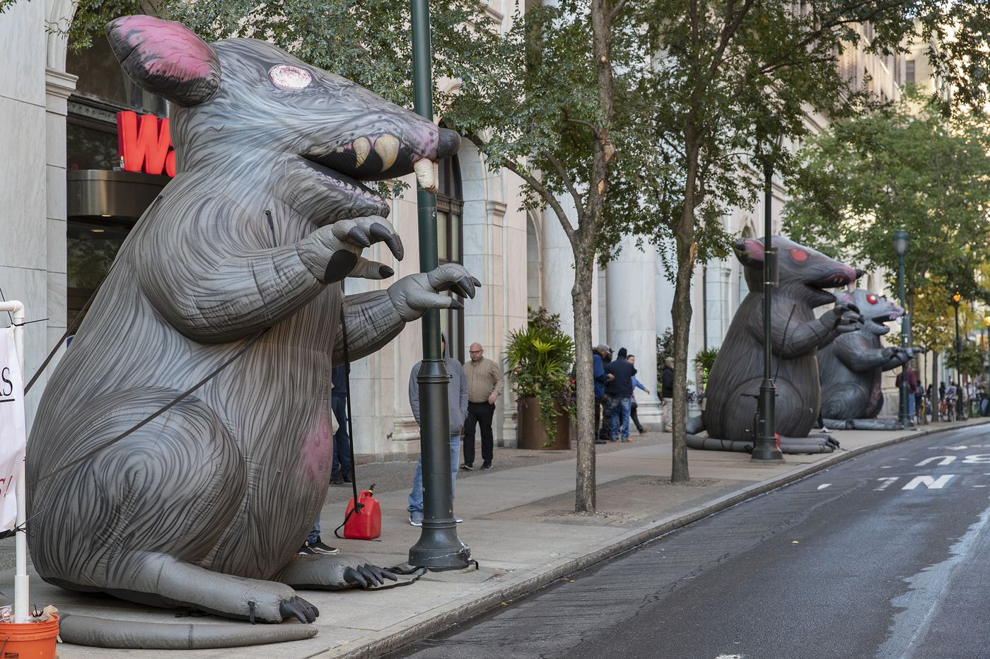 Seven 'Scabby the Rats' line Public Ledger Building as unions protest