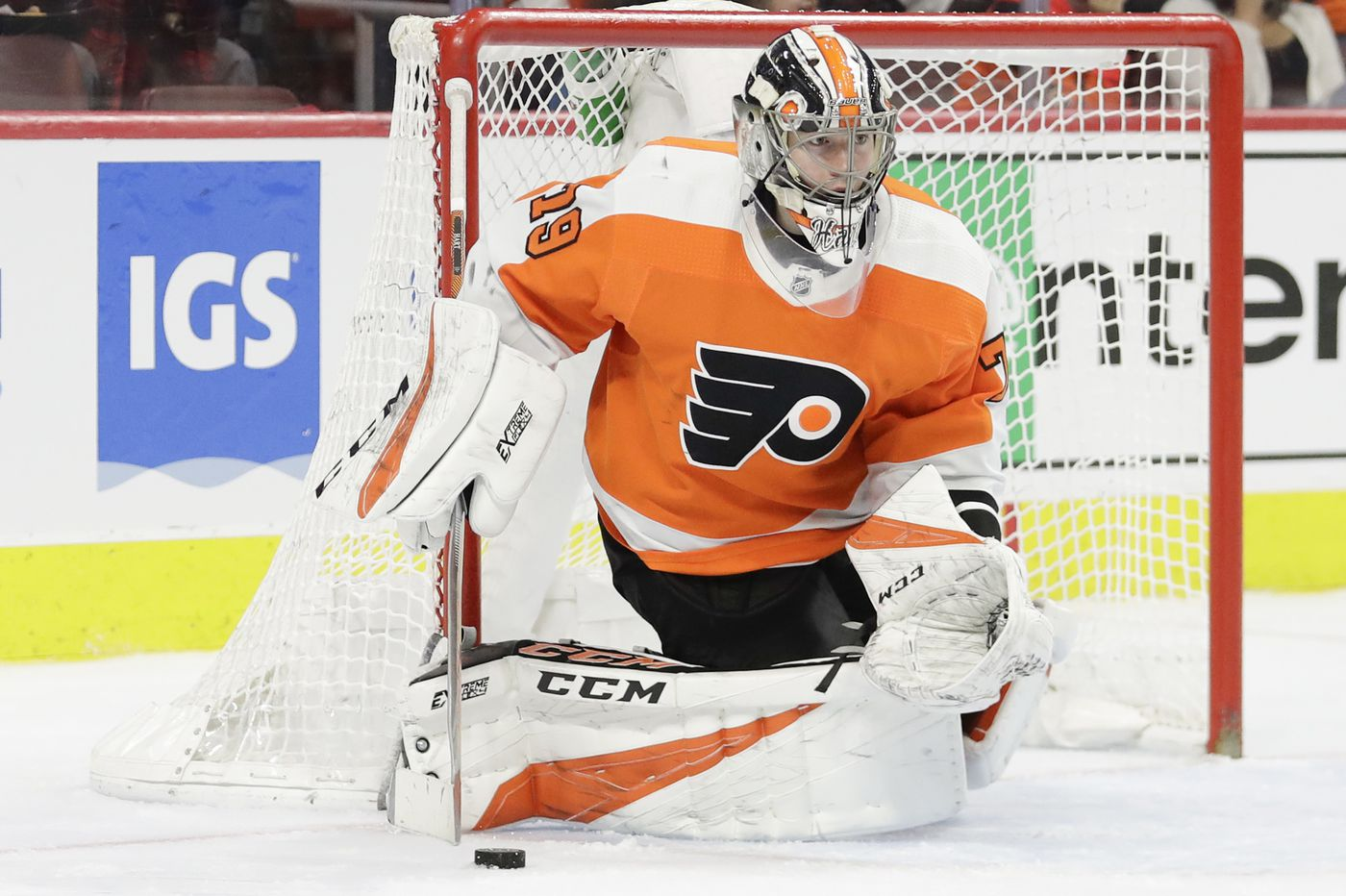 Flyers' Carter Hart blanks Britain for Team Canada's first win in World Championships