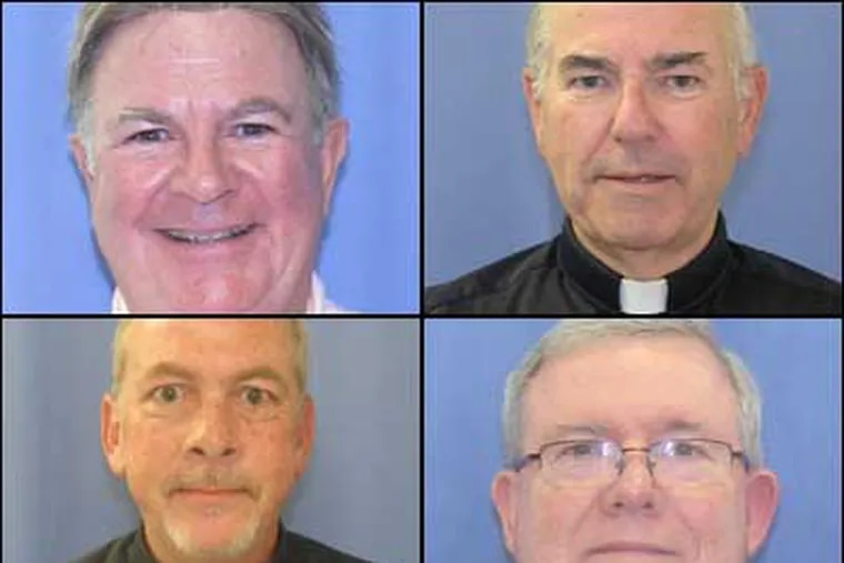 Shown: Rev. Edward Avery, top left; Rev. Charles Engelhardt, top right; Rev. James Brennan, bottom left; and, Monsignor William Lynn, bottom right. Source: Philadelphia District Attorney's Office.