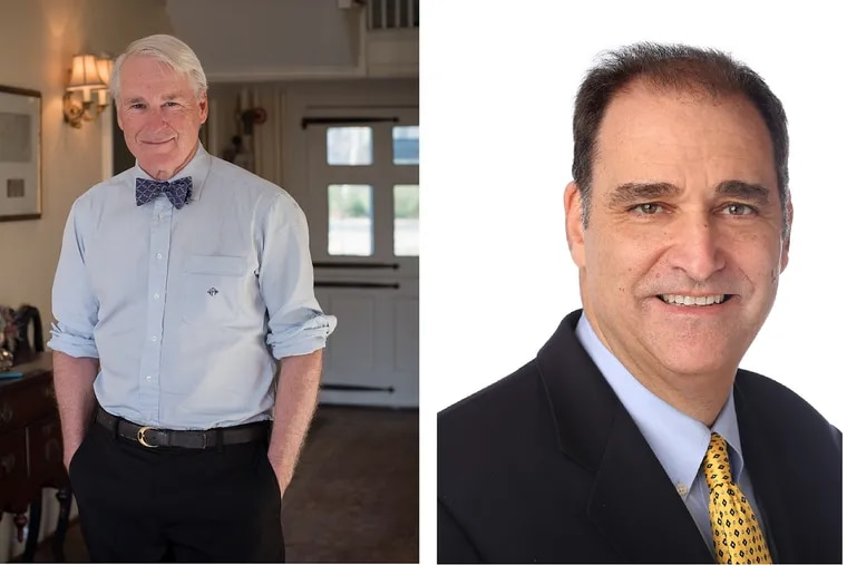 """For the last year and a half, former mayors Nicolas Platt (left) and Jordan Glatt have been tasked with persuading New Jersey's 565 municipalities and 21 counties to share services, their job as """"shared-services czars."""""""