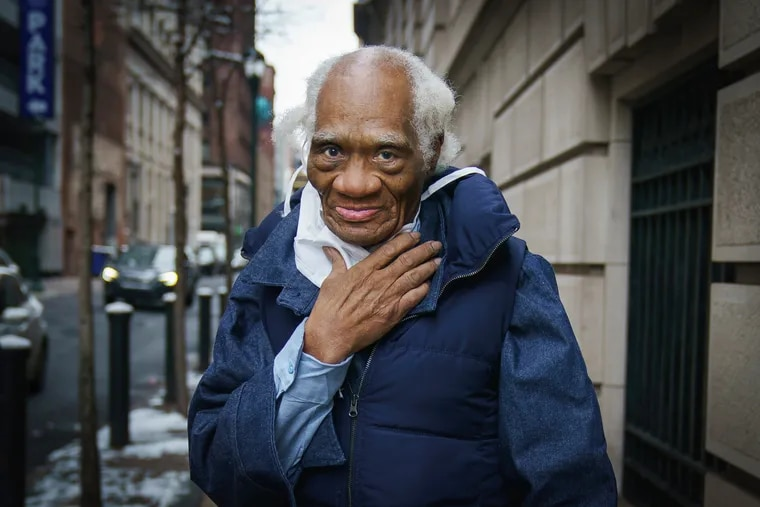 Joe Ligon, the nation's oldest juvenile lifer, stops for a portrait outside his lawyers office at the Defender Association of Philadelphia, in Center City, February 11th, 2021. Ligon was released from prison today and went to his lawyers office directly after.