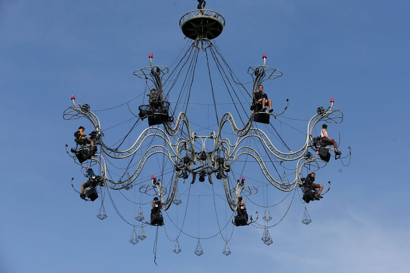 I went up 50 feet in the air over the Schuylkill to ride PIFA's 'human chandelier'