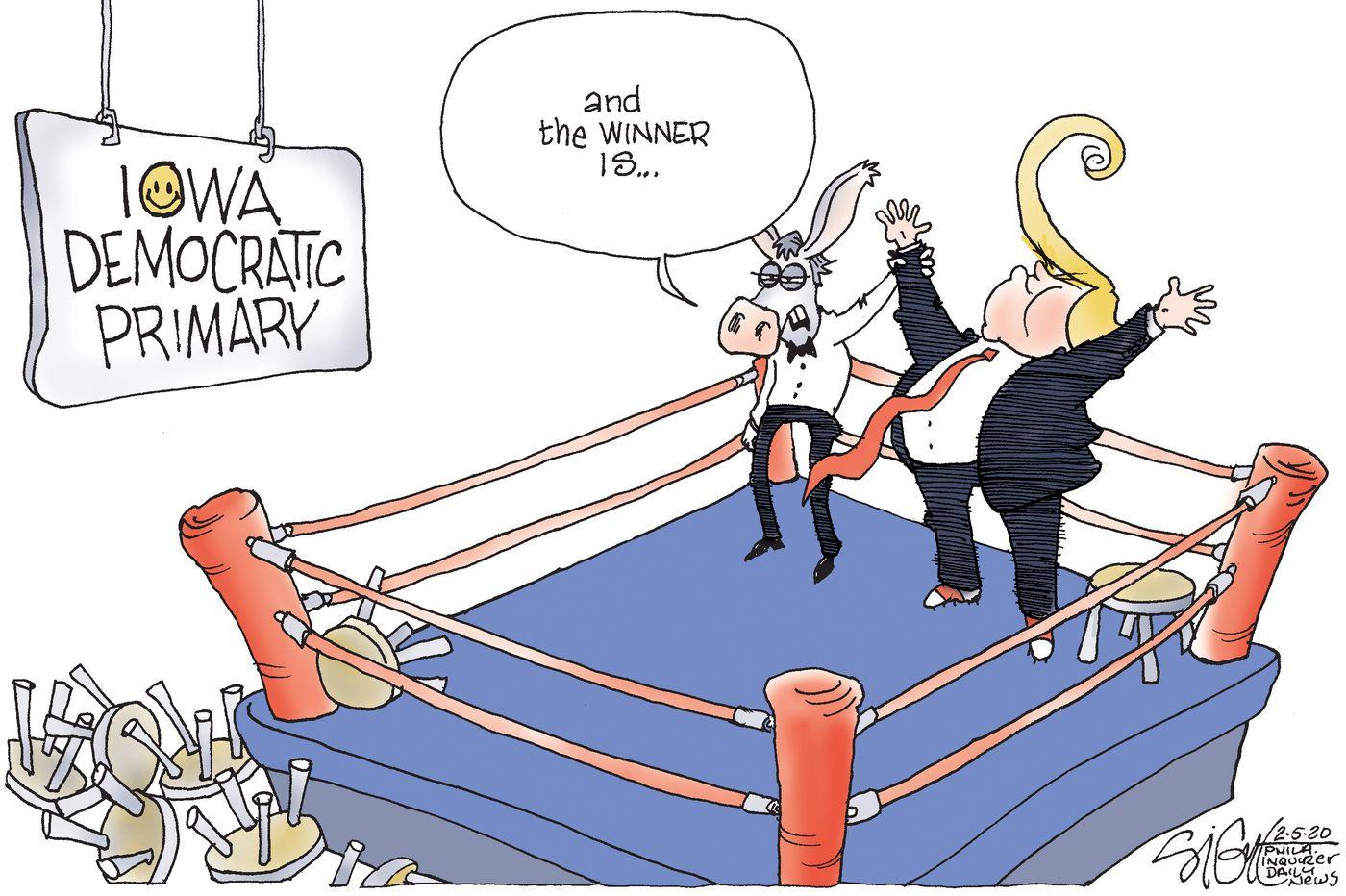Political Cartoon: Trump wins Iowa caucuses