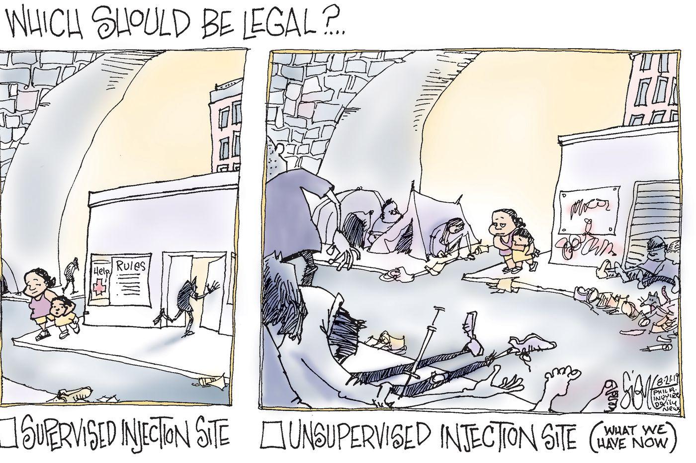 Political Cartoon: Supervised drug injection sites