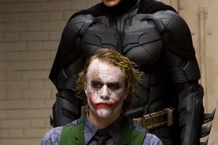 """The Dark Knight"" stars Christian Bale (top) and Heath Ledger."