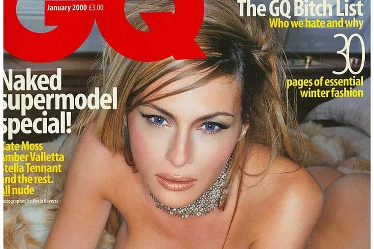 Over 15 years ago, the January 2000 issue of British GQ magazine profiled Donald Trump's then-girlfriend and now his wife Melania Knauss. The photos featured her on his customised Boeing 727, wearing handcuffs, wielding diamonds, and holding a chrome pistol. For Jenice Armstrong story