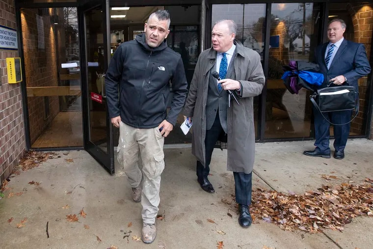 Mark D'Amico leaves municipal court in Florence, N.J., Monday afternoon for a hearing on an eviction notice.