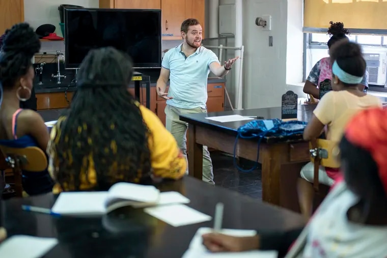 Amit Schwalb is a science teacher at W.B. Saul. In this photo, he's teaching at Science for Kids workshops on the campus of Swarthmore College on Monday, July 15, 2019, in Swarthmore, Pa.