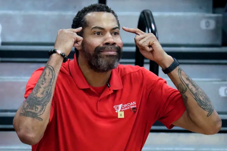 Former NBA and UNC star Rasheed Wallace directs the team as he coaches at Jordan High School in Durham, NC on Tuesday Feb. 11, 2020.  Wallace's own high school coach, Bill Ellerbee, a Philadelphia legend at Simon Gratz High, came to the game to watch his former student in action.