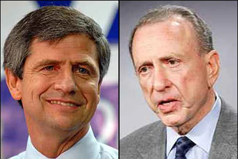 Sen. Arlen Specter (right) leads Rep. Joe Sestak in the Democratic primary, according to a new Quinnipiac University poll of likely primary voters. (File photos)