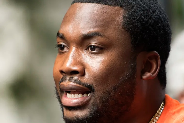 Rapper Meek Mill, the most famous person held on a detainer in Philadelphia, speaks minutes after exiting the Philadelphia Criminal Justice in Center City, Philadelphia. Monday, June 18, 2018.