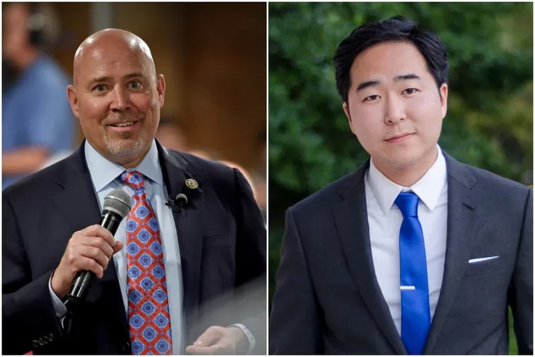 A new poll shows a virtual tie between U.S. Rep. Tom MacArthur (left), a South Jersey Republican, and Democrat Andy Kim (right). They are running in one of the most competitive U.S. House races in the country, based in Burlington and Ocean counties.