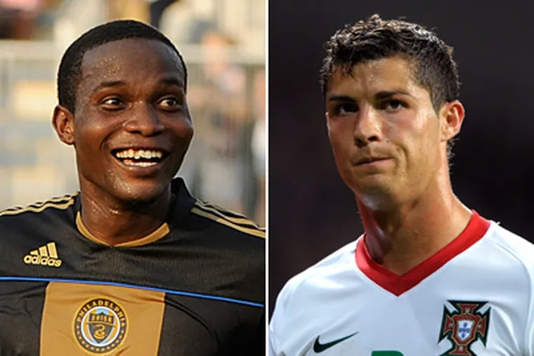 Danny Mwanga (left) and the Union will face Cristiano Ronaldo and Real Madrid tonight at the Linc. (AP Photos)
