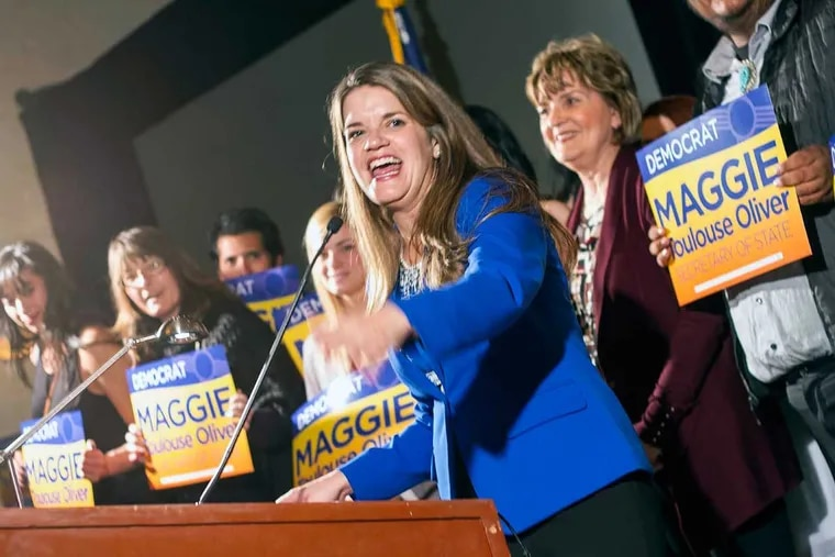 After winning a term as New Mexico's secretary of state, Maggie Toulouse Oliver gives her acceptance speech at the New Mexico Democratic Party election night party on Nov. 8, 2016 in Albuquerque, New Mexico.