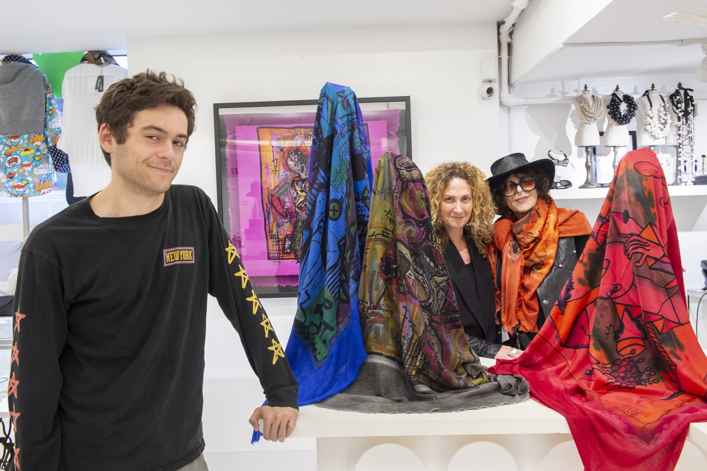 Drawings of Joan Shepp's grandson are at the center of a luxe designer's iconic scarf | Elizabeth Wellington