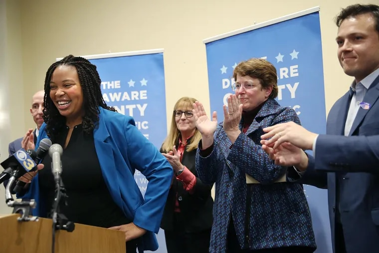 From left, current Delaware County Councilman Brian Zidek, newly elected Councilwomen Monica Taylor, Elaine Schaefer, and Christine Reuther, and current Councilman Kevin Madden celebrate during the Delaware County Democratic Committee's election watch party on Nov. 5.