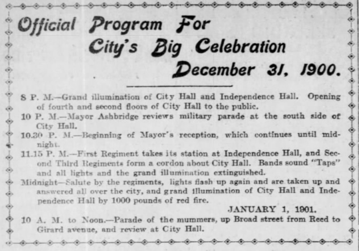 Inquirer archive of the city's plans for New Year's celebrations, published Dec. 22, 1900.