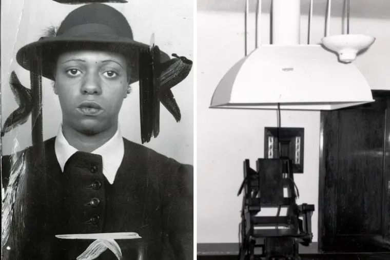Corrine Sykes, left, was a 22-year-old African American housemaid who became the second woman in Pennsylvania to die under the death penalty, in 1946. She was electrocuted. At right, Pennsylvania's electric chair in the early '50s. The same chair was used in all Pennsylvania executions. The large ventilator hood withdrew the smoke from burning skin.