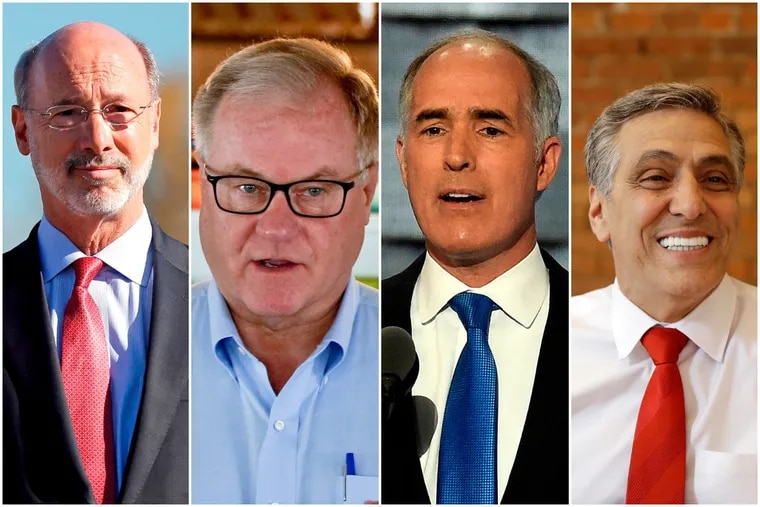From left to right, Gov. Wolf will face former state Sen. Scott Wagner in the Nov. 6 general election for governor while U.S. Sen. Bob Casey Jr. will face U.S. Rep. Lou Barletta in the race for U.S. Senate.