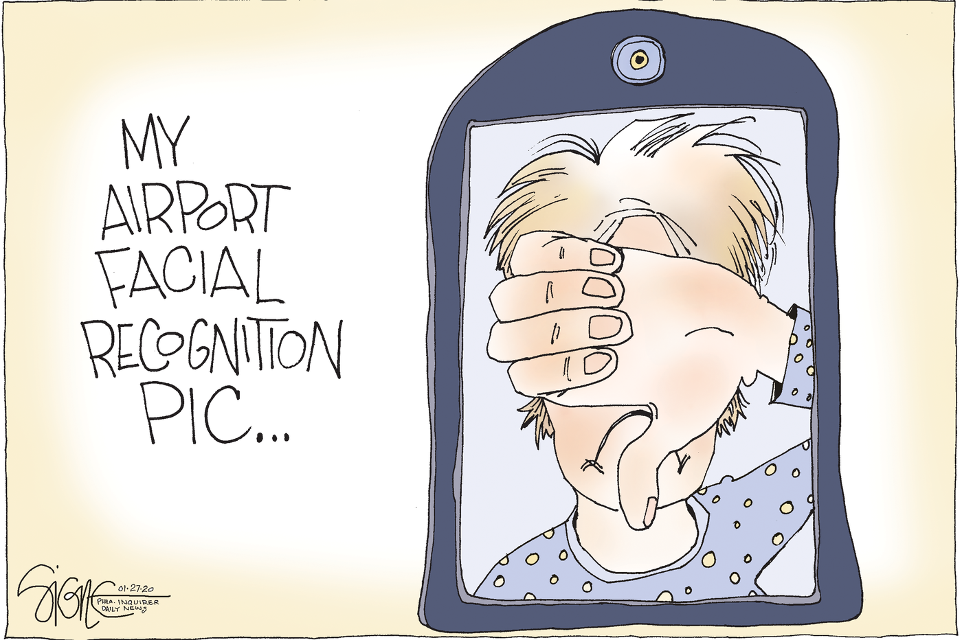 Political Cartoon: Facial recognition doesn't fly
