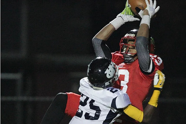 D.J. Moore catching a long pass for Imhotep against West Catholic.