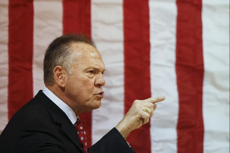 Senate candidate Roy Moore speaks at a campaign rally on Nov. 30 in Dora, Ala.