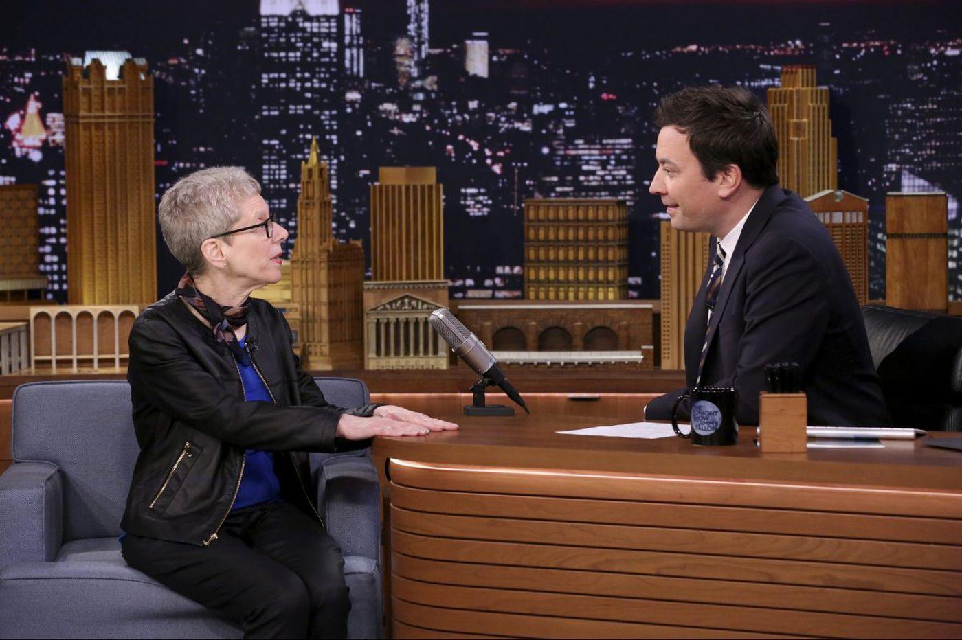 Terry Gross talks about meeting her future husband at a Penn record shop, burns Bill O'Reilly on 'Fallon'