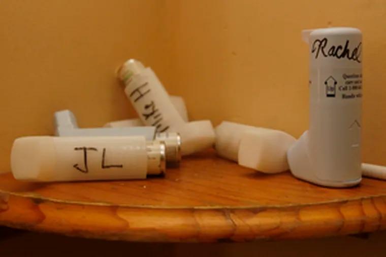 Asthma inhalers.