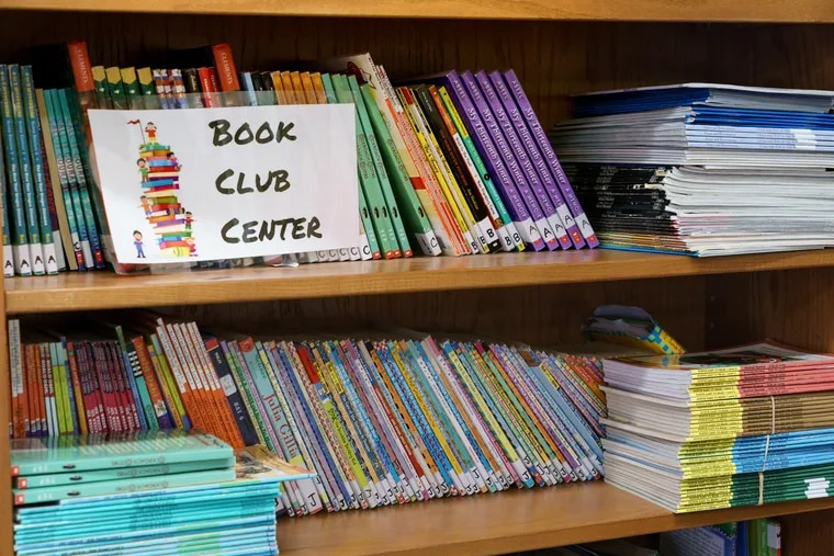 Books in the new library at the Taggart school in South Philadelphia.