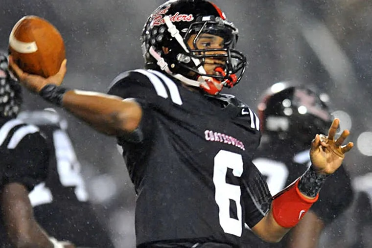Coatesville quarterback Emmett Hunt has hit on 146 of 229 passes for 2,982 yards and 43 TDs, with three picks.  CLEM MURRAY / Staff Photographer