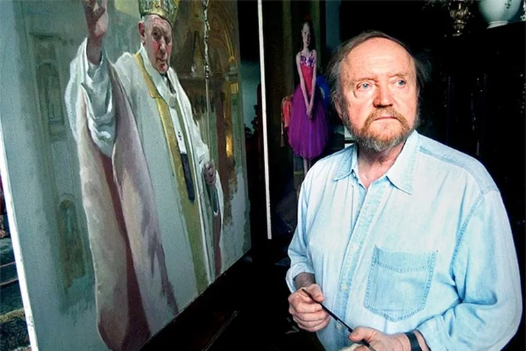 Nelson Shanks and Pope John Paul II, a work in progress. Shanks says George W. Bush has both talent and imagination.