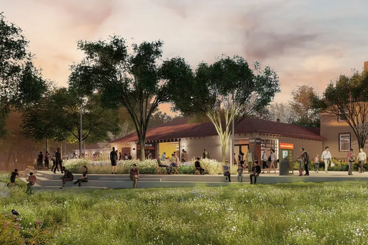 A rendering of a planned new welcome center for FDR park in Philadelphia.
