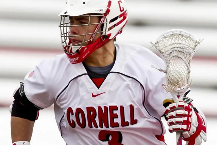 Cornell's Rob Pannell, second on the NCAA's career points list with 347, will play in the NCAA men's lacrosse tournament at Lincoln Financial Field 5/25.  (Photo by Dave Burbank/Cornell University)