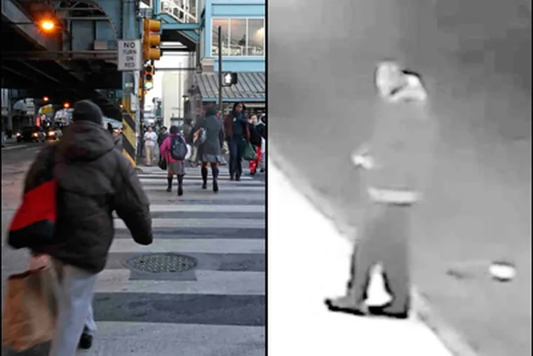 Left: Bustling Kensington and Allegheny avenues, near the area where a strangler has been terrorizing a neighborhood. (Steven M. Falk / Staff) Right: Surveillance video of man believed to be suspect in stranglings.