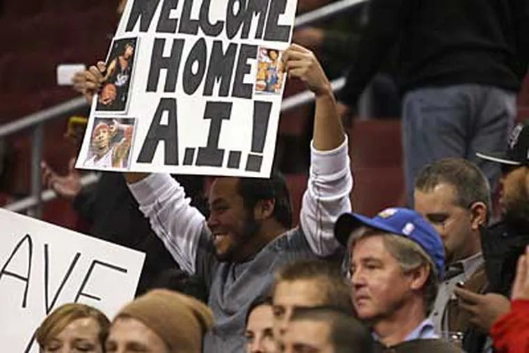 Despite his tumultuous past in Philadelphia, Allen Iverson was welcomed back with open arms.  (Yong Kim / Staff Photographer)